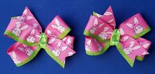 EASTER BUNNY PINK Set of 2 Pigtails Handmade Hair Bows with Non Slip Clips
