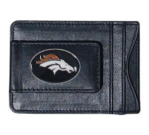 Denver Broncos NFL Football Team Leather Card Holder Money Clip Wallet