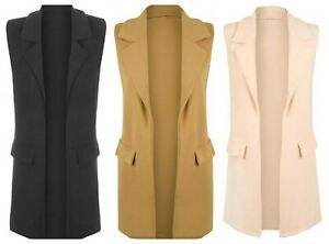 Ladies Womens Sleeveless Open Front Long Cardigan Waistcoat UK Size 8-14