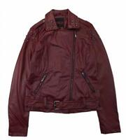Yoki Woman's Burgundy Studded Faux Leather Moto Jacket Size S M L XL 1X 2X 3X