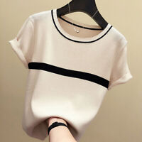 Thin Knitted Cotton T Shirt Women 2020 Summer Short Sleeve Casual Tops Striped