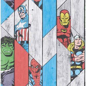 Marvel Wood Panel Thor Spiderman Hulk Captain America Wallpaper