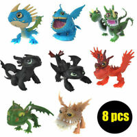 8pc Movie  How to Train Your Dragon Night Fury Action Figures Doll Kids Toy