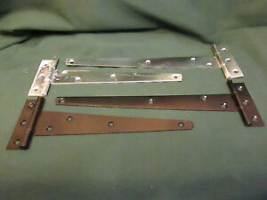 BLACK TEE HINGES  Pair Shed Gate GALVANISED TEE HINGES  CHOICE  COLOUR & SIZE