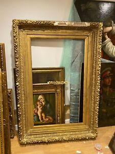 Huge 18th 19th Century English Handmade Ornate Antique Gesso Gilt Frame