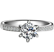 925 Sterling Silver 1 Carat Round Diamond Created Wedding Engagement Ring R37