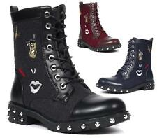 LADIES FAUX SUEDE / LEATHER SPIKE STUDS FASHION PUNK GOTH ZIP ANKLE BOOTS SHOES