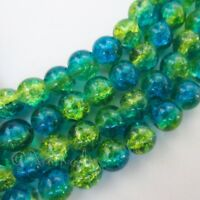 Green And Teal Wholesale 8mm Round Crackle Glass Beads G2232 - 50, 100 Or 200PCs