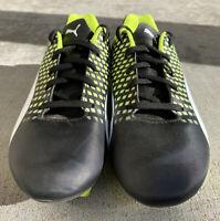 PUMA Kids' Adreno III FG Soccer Shoes/ Cleats Size 4.5 Black, Neon Yellow, White