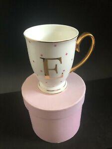 Home Decor Bombay Duck Alphabet Spotty Metallic Mug Letter E