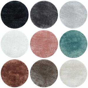 Rund Teppiche Hochflor Shaggy Wohnzimmer Weichem Glanz Garn Einfarbig 9 Farben