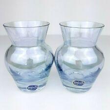 Bohemian Czech Bohemia Crystal Glass Small Vases Clear Light Blue Iridescent