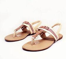 LMK112 T-Strap Thong Toe Gladiator Flats Sandals Women Shoes Beige 8
