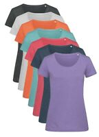 Ladies Womens Melange Cotton Blend Short Sleeve Crew Neck Tee T-Shirt Tshirt