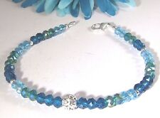 Blue and Green Rondelle Crystal and Czech Glass Anklet