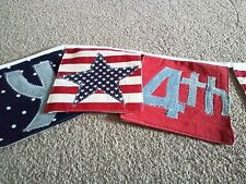 Happy 4th July fabric applique banner. Made by Second Chance charity in Bangkok