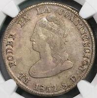 1857 NGC VF 35  Ecuador 4 Reales Scarce Liberty Head Coin (18100303CZ)