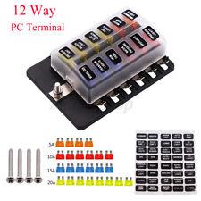 12 Way Blade Fuse Block Box Holder LED Light 12V 32V Circuit Caravan Car