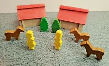 Vintage 9 Piece Wood Putz Village Set With 2 Barns, Germany