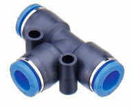 Pneumatic Push In Air Fittings - 5 x Union Tee 8mm hose