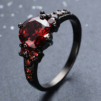 8*8MM Cubic Round Red Ruby Black Gold Filled Women's Engagement Wedding Ring