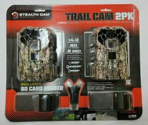 Stealth Cam XS14 14mp Trail Camera with 4-1 Card Reader, 2 Pack - Camo