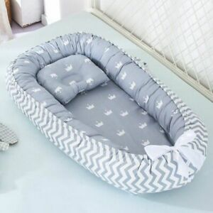 Baby Nest Bed Portable Foldable Cotton Crib Cradle Travel Bassinet Bumper Pillow