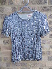 ladies pewter & grey sequin beaded kaleidoscope top size 16