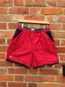 VINTAGE LACOSTE SHORTS - SIZE 30 - 32 WAIST - RED GREEN BLUE 90S 80S