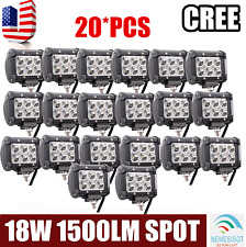 20pcs 18W CREE 4 INCH LED WORK LIGHT BAR SPOT Lamp Off Road UTE Truck JEEP ATV