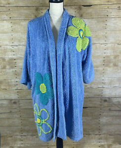 Vintage Canyon Group By Damze Blue Retro Flowers CHENILLE Robe Size P/S NO BELT