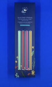 FitFabFun. Chip and Tonic Silicone Straws with Cleaning brsh & carrying case. 1A