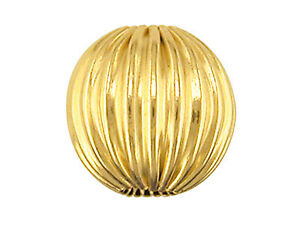 9ct Yellow Gold Corrugated Round 6mm 2 Hole Bead