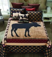 WILD MOOSE 3pc Full Queen QUILT SET : CABIN BROWN BLACK RED MOUNTAIN COVERLET