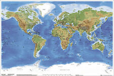 Beautiful PHYSICAL WALL MAP OF THE WORLD Poster (Miller Cylindrical Projection)