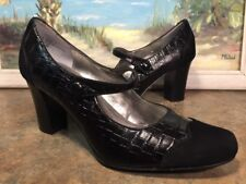 Franco Sarto Mary Jane Croc Embossed Suede Accents Black Size 7.5 M