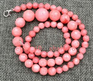 New 6-14mm Pink Rhodochrosite Round Faceted Gemstone Necklace 18 inches