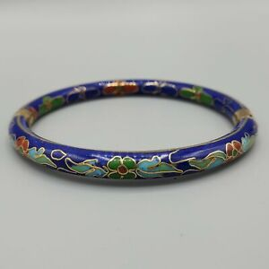 Cloisonne And Lapis Lazuli Bracelet Accented with Clear 4 mm bicone Crystals