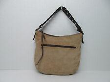 Sundance Made in Italy Beige/Brown Suede Leather Shoulder Bag Purse Handbag