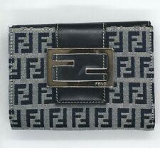 Vintage Fendi Trifold Wallet Purse Zucchino Navy Gray Woman
