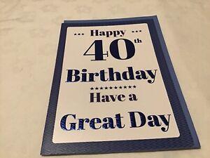 Happy 40th Birthday Card With Envelope New 18cm x 25cm