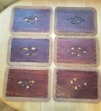 New listing Vintage Wooden Hand Carved Bird Themed Table Place Mat Set Of 6