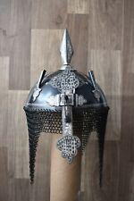 Vintage Mughal Islamic Ottoman Silver Koftgari Damascened Helmet Khula Khud
