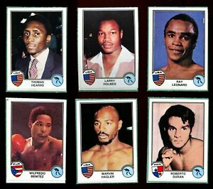 Lot of (6) 1981 Panini Sport Superstars Rookies - Hagler, Hearns, Leonard +
