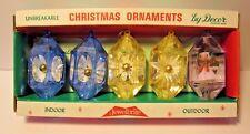 5 UNBREAKABLE JEWELBRITE ALUMINUM TREE CHRISTMAS ORNAMENT DIORAMA GLITTER W/BOX