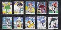 JAPAN 2010 ANIMATION HERO 12TH ISSUE KERORO GUNSOU COMP. SET OF 10 STAMPS USED