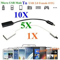10X 5X 1X Micro USB Male To USB 2.0 Female OTG Host Converter Cable Adapter Lot