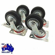 """4P SET HEAVY DUTY RUBBER Caster CASTOR Wheel Swivel Brake Fixed 3"""" 4"""" OR 5"""" N"""