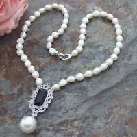 CZ micro Pendant  White Baroque Pearl Necklace