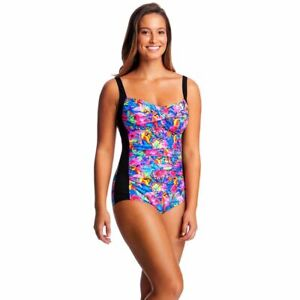 FUNKITA CLUB TROPO RUCHED ONE PIECE WOMEN'S, WOMEN'S CHLORINE RESISTANT SWIMWEAR